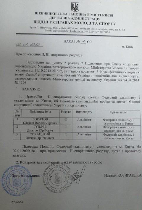 Вітаємо з підвищенням спортивної кваліфікації київських альпіністів!